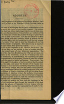 Address Before the Daughters of the American Revolution  Monday  April 14  1924