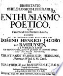 Diss. philol. lit. de enthusiasmo poetico