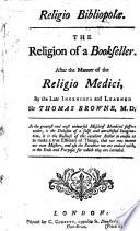 Religio Bibliopol Or The Religion Of A Bookseller Etc By John Dunton