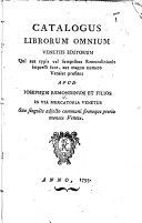 Pdf Catalogus librorum omnium Venetiis editorum qui aut typis vel sumptibus Remondinianis impressi sunt, aut magno numero venales prostant apud Josephum Remondinum et filios, etc