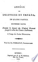 Abrégé de l'histoire du Canada, en quatre parties ...