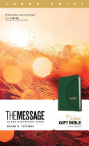 The Message Deluxe Gift Bible  Large Print  Leather Look  Green