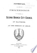 Journal Of Proceedings Of The Second Branch City Council Of Baltimore