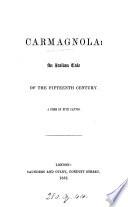 Carmagnola  a poem Book