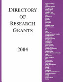Directory of Research Grants 2004 Book