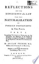 Reflections On The Expediency Of A Law For The Naturalization Of Foreign Protestants