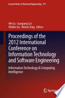 Proceedings Of The 2012 International Conference On Information Technology And Software Engineering Book PDF