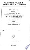 Department Of Justice Appropriation Bill For 1939