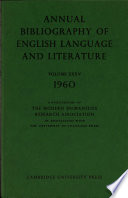 Annual Bibliograghy Of English Language And Literature
