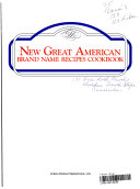 New Great American Brand Name Recipes Cookbook