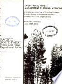 Operational Forest Management Planning Methods