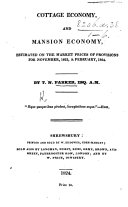 Cottage Economy and Mansion Economy, estimated on the market prices of provisions for November, 1823, & February, 1824