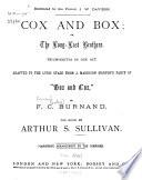 Cox and Box Book