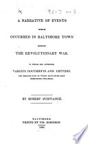 Narrative of Events which Occurred in Baltimore Town During the Revolutionary War