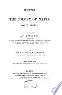 History of the Colony of Natal, South Africa