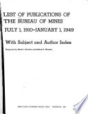 List Of Publications Issued By The Bureau Of Mines With Subject And Author Index