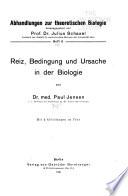 Abhandlungen Zur Theoretischen Biologie ...
