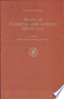 Essays in Classical and Modern Hindu Law