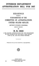 Interior Department Appropriation Bill for 1937, Hearings Before ... 74-2, on H.R. 10630