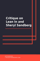 Pdf Critique on Lean In and Sheryl Sandberg Telecharger