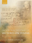 Jacob Wackernagel, Lectures on Syntax