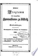 Programm des evangelischen Gymnasiums zu Bistritz in Siebenbürgen ...