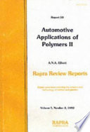 Automotive Application of Polymers II