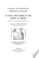 Ju  n De Vald  s  Commentary Upon St  Paul s First Epistle to the Church at Corinth