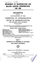Department of Transportation and Related Agencies Appropriations for 1999: Testimony of members of Congress and public witnesses