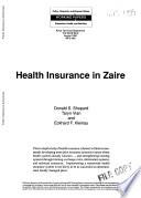 Health Insurance In Zaire Book PDF