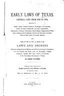 Early Laws of Texas
