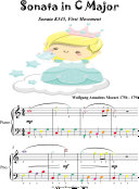 Sonata in C Major K545 1st Mvt Easiest Piano Sheet Music with Colored Notation