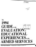 Guide to the Evaluation of Educational Experiences in the Armed Services Book