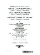 2003 Supplement to Tenth Editions Modern Criminal Procedure