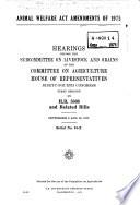 Animal Welfare Act Amendments of 1975 Book