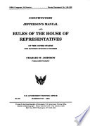 Constitution, Jefferson's Manual, and Rules of the House of Representatives of the United States