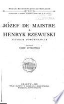 Józef de Maistre a Henryk Rzewuski