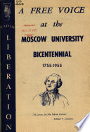A Free Voice at the Moscow University Bicentennial, 1755-1955