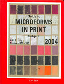 Guide To Microforms In Print 2004