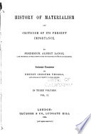 The History of Materialism and Criticism of Its Present Importance  The eighteenth century