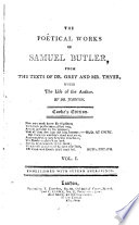 The poetical works of Samuel Butler  With the life of the author  by dr  Johnson  Cooke s ed