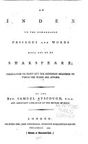 Pdf An Index to the Remarkable Passages and Words Made Use of by Shakspeare