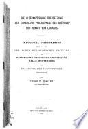 Die altfranzösische übersetzung der Consolatio philosophiae des Boëthius von Renaut von Louhans ...