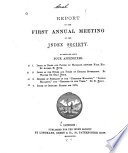 Report of the First second Annual Meeting of the Index Society