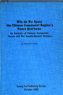 Why Do We Spurn The Chinese Communist Regime S Peace Overtures