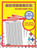 Scrabble Score Sheet Pad   100 Sheets   For Upto 4 Players