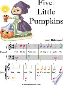 Five Little Pumpkins Easiest Piano Sheet Music with Colored Notes