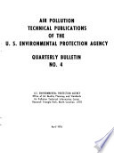 Air pollution technical publications of the U.S. Environmental Protection Agency
