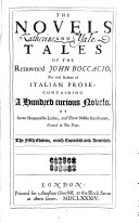The Novels and Tales of the Renowned John Boccacio