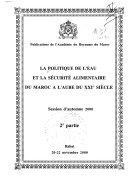 La politique de l'eau et la sécurité alimentaire du Maroc à l'aube du XXe siècle